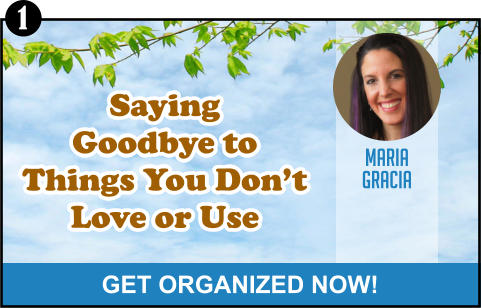 MARIA GRACIA GET ORGANIZED NOW! Saying Goodbye to Things You Don't Love or Use Saying Goodbye to Things You Don't Love or Use 1
