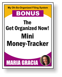 The Get Organized Now! Mini Money-Tracker MARIA GRACIA My Oh-So-Organized Filing System BONUS