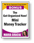 The Get Organized Now! Mini Money Tracker MARIA GRACIA My Oh-So-Organized-Filing System BONUS