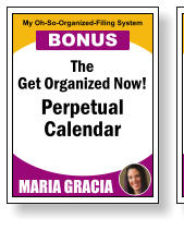 The Get Organized Now! Perpetual   Calendar MARIA GRACIA My Oh-So-Organized-Filing System BONUS