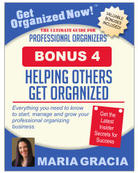 Get Organized Now! VALUABLE BONUSES INCLUDED! TM MARIA GRACIA PROFESSIONAL ORGANIZERS The Ultimate Guide for Everything you need to know to start, manage and grow your professional organizing business. Get the Latest Insider Secrets for Success HELPING OTHERS GET ORGANIZED BONUS 4